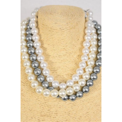 "Necklace Sets 10 mm Glass Pearls White Cream Gray Mix/DZ Size-18"" Extension Chain,Earring-10 MM w Fish Hook,,4 White,4 Cream,4 Gray,3 Color Asst,Hang Tag & OPP Bag & UPC Code"