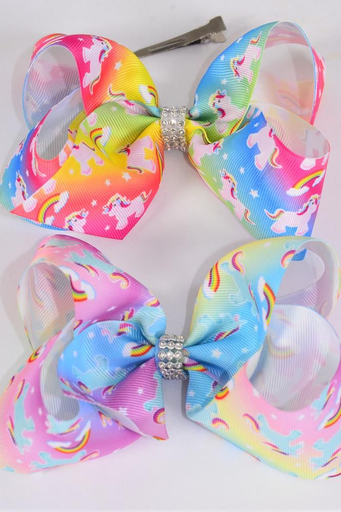 "Hair Bow Jumbo Unicorn Rainbow Tiedye Grosgrain Bow-tie/DZ **Pastel** Alligator Clip,Size-6x 5"" Wide,6 of each Color Asst,Clip Strip & UPC Code"
