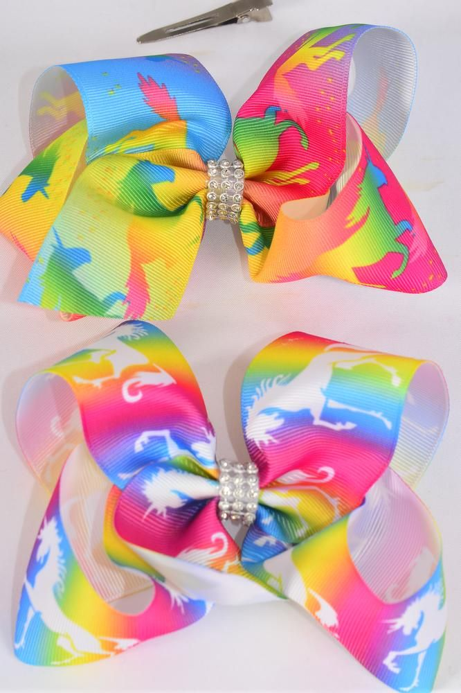"Hair Bow Extra Jumbo Unicorn Center Clear Stones Grosgrain Bow-tie/DZ **Alligator Clip** Size-6""x 5"" Wide,6 of each Style Asst,Clip Strip & UPC Code"