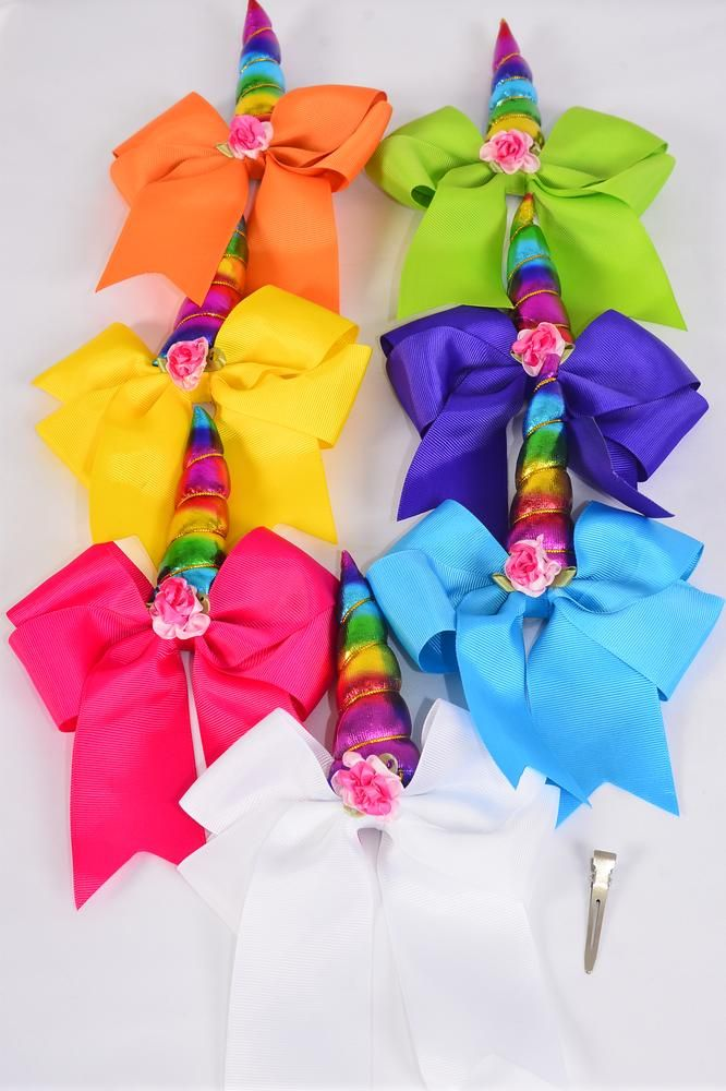 "Hair Bow Extra Jumbo Long Tail Cheer Type Bow Unicorn Citrus Grosgrain Bow-tie Citrus/DZ **Multi** Alligator Clip,Size-6.5""x 6"" Wide,2 White,2 Fuchsia,2 Purple,2 Yellow,2 Blue,1 Lime,1 Orange,7 Color Asst,Clip Strip & UPC Code"