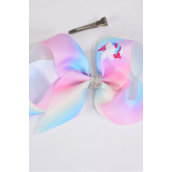 "Hair Bow Jumbo Tiedye Unicorn Center Clear Stones Grosgrain Bow-tie/DZ **Alligator Clip** Size-6""x 5"" Wide,Clip Strip & UPC Code"