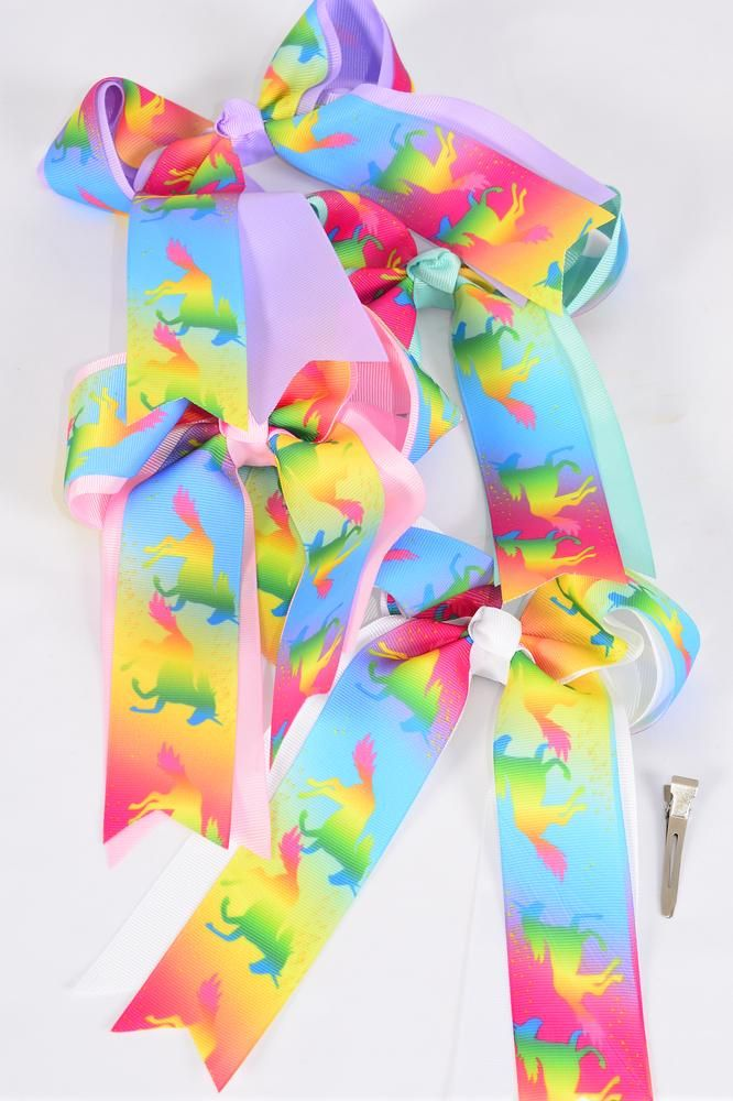 "Hair Bow Large Long Tail Unicorn Double Layered Center Grosgrain Bow-tie Pastel/DZ **Pastel** Alligator Clip,Size-7""x 6"" Wide,3 White,3 Pink,3 Lavender,3 Mint Green,4 Color Mix,Clip Strip & UPC Code"