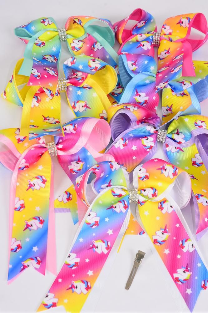 "Hair Bow Large Long Tail Unicorn Double Layer Center Clear Stone Grosgrain Bow-tie Pastel/DZ **Pastel** Size-7""x 6"" Wide,Alligator Clip,2 White,2 Baby Pink,2 Lavender,2 Hot Pink,2 Mint Green,1 Blue,1 Yellow,7 Color Asst,Clip Strip & UPC Code"