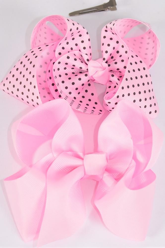 "Hair Bow Jumbo Pink Polka-dots Grosgrain Bow-tie/DZ **Pink Mix** Alligator Clip,Size-6""x 5"" Wide,6 of each Color Asst,Clip Strip & UPC Code"