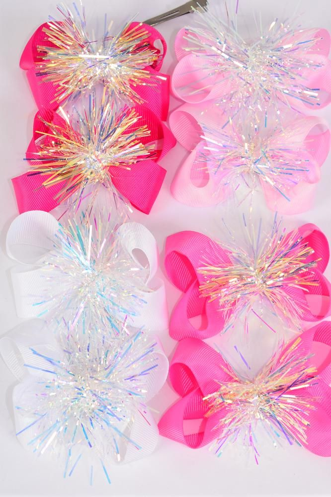 "Hair Bow 24 pcs Center Pom Pom Iridescent Grosgrain Bow-tie Pink Mix/DZ **Pink Mix** Alligator Clip,Size-3.5"" x 2.5"" Wide,3 of each Color Asst,Clip Strip & UPC Code"