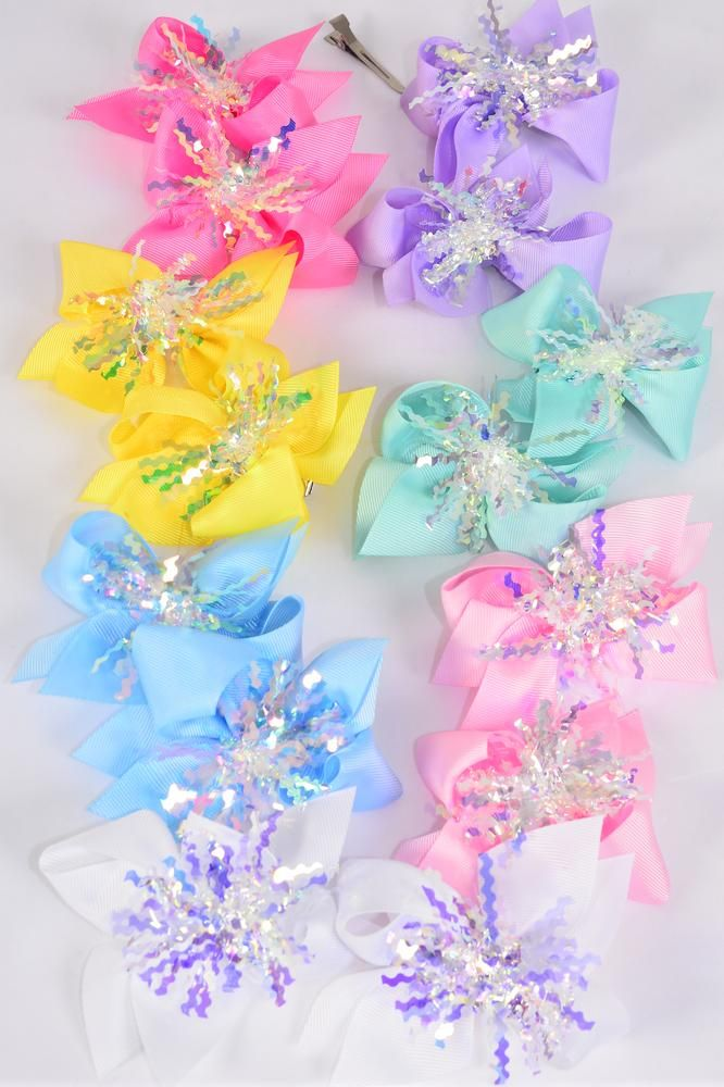 "Hair Bow 24 pcs Center Pom Pom Iridescent Grosgrain Bow-tie Pastel/DZ **Pastel** Size-4"" x 4"",Alligator Clip,2 White,2 Baby Pink,2 Lavender,2 Hot Pink,2 Mint Green,1 Blue,1 Yellow,7 Color Asst,Clip Strip & UPC Code"