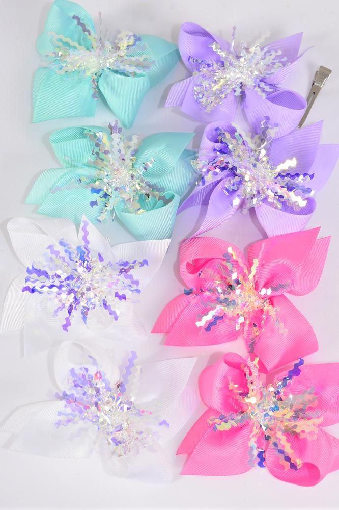 "Hair Bow 24 pcs Center Pom Pom Iridescent Grosgrain Bow-tie Pastel/DZ **Pastel** Alligator Clip,Size-4"" x 4"" Wide,3 White,3 Baby Pink,3 Lavender,3 Mint Green Mix,Clip Strip & UPC Code,24 pcs per Clip Strip"