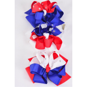 "Hair Bow Extra Jumbo Double Layered Silver Star Studded Tritone Patriotic Grosgrain Bow-tie/DZ ** Alligator Clip** Bow-6""x 6"" Wide,4 of each Color Asst,Clip Strip & UPC Code"