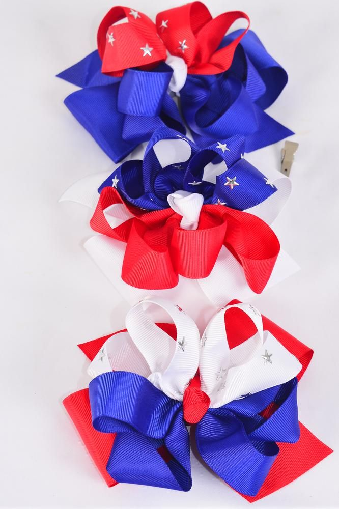 "Hair Bow Extra Jumbo Double Layered Silver Star Studs Triton Patriotic-Flag Grosgrain Bow-tie/DZ ** Alligator Clip** Bow-6""x 6"",4 of each Color Asst,Clip Strip & UPC Code"