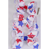 "Hair Bow Jumbo Patriotic Grosgrain Bow-tie/DZ **Alligator Clip** Size-6""x 6"" Wide,4 of each Color Asst,Clip Strip & UPC Code"