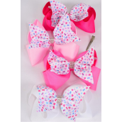 "Hair Bow Jumbo Double Layered Center Clear Stones Heart Print Grosgrain Bow-tie Spring Mix/DZ **Spring Mix** Alligator Clip,Size-6""x 6"" Wide,3 of each Color Asst,Clip Strip & UPC Code"