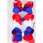 "Hair Bow Jumbo Patriotic Tritone Red White  Royal Blue Mix Grosgrain Bow-tie/DZ **Red White Royal Blue Mix** Alligator Clip,Size-6""x 5"" Wide,4 of each Color Asst,Clip Strip & UPC Code"