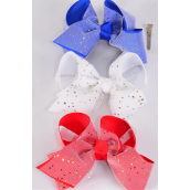 "Hair Bow Jumbo Double Layered Bow Stars Red & White & Royal Blue Mix Grosgrain Bow-tie/DZ **Alligator Clip** Bow-6""x 5"" Wide,4 of each Color Asst,Clip Strip & UPC Code"