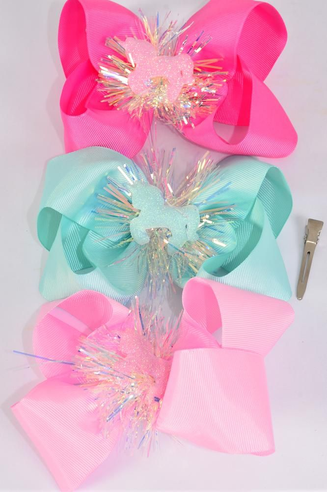 "Hair Bow Jumbo Center Unicorn Charm Grosgrain Bow-tie/DZ **Alligator Clip** Bow-6""x 6"" Wide,4 Baby Pink,4 Hot Pink,4 Mint Green,3 Color Asst,Clip Strip & UPC Code"