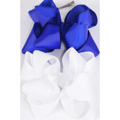 "Hair Bow Jumbo Windmill Cheer Bow Type Double Layer Royal Blue & White Mix Grosgrain Bow/DZ **Royal Blue & White Mix** Alligator Clip,Size-7""x 7"" Wide,6 Royal Blue & 6 White Asst,Clip Strip & UPC Code"