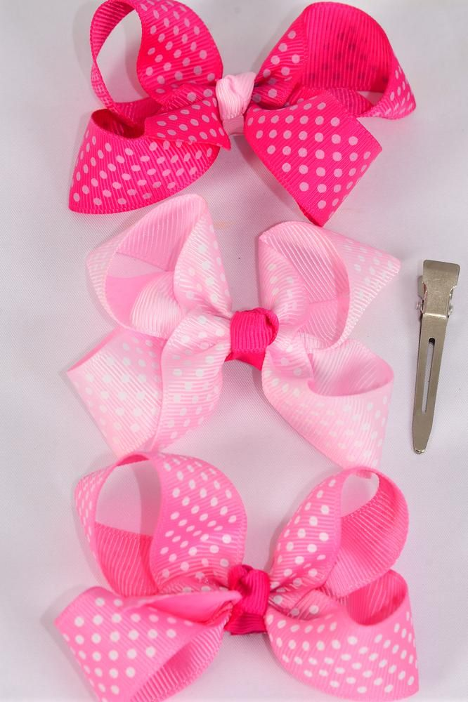 "Hair Bow Mini Polka-dot Grosgrain Bow-tie Pink Mix/DZ **Pink Mix** Alligator Clip,Size-3""x 2"" Wide,4 of each Color Asst,Clip Strip & UPC Code"