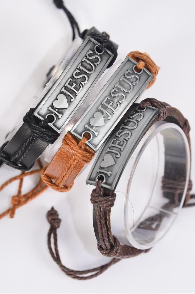 Bracelet Real Leather Band I Love Jesus Silver/DZ **Silver** Unisex,Adjustable,4 of each Color Mix,Individual Hang tag & OPP Bag & UPC Code