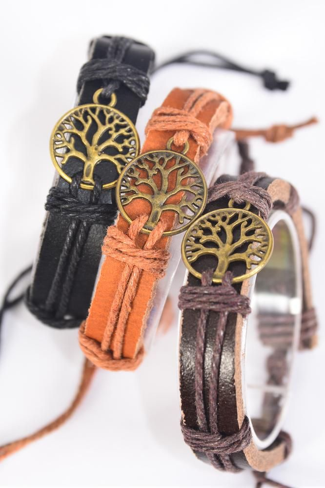 Bracelet Real Leather Tree of Life Antique Gold/DZ **UNISEX** Gold,Adjustable,4 of each Color Asst,Hang Tag & OPP Bag & UPC Code