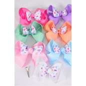 "Hair Bow Extra Jumbo Double Layer Bowtie Pastel Hearts Grosgrain Bow-tie/DZ **Alligator Clip** Size-6""x 6"" Wide,2 White,2 Pink,2 Blue,2 Yellow,2 Lavender,1 Hot Pink,1 Mint Green,7 Color Asst,Clip Strip & UPC Code"