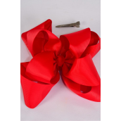 "Hair Bow Jumbo Windmill Cheer Bow Type Double Layer Red Grosgrain Bow/DZ **Red** Alligator Clip,Size-7""x 7"" Wide,Clip Strip & UPC Code"