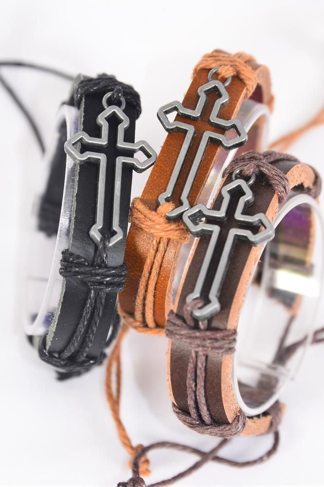 "Bracelet Real Leather Band Silver Sideways Open Cross/DZ **Silver** Unisex,Cross Size-1.75""x 0.75"" Wide,4 of each Color Asst,Hang Tag & OPP Bag & UPC Code -"