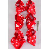 """Hair Bow Large Double layer Fabric Heart Print Grosgrain & Satin Fabric Mix/DZ **Alligator Clip** Bow-4.5""""x 3.5"""" Wide,4 of each Color Asst,Clip Strip & UPC Code"""