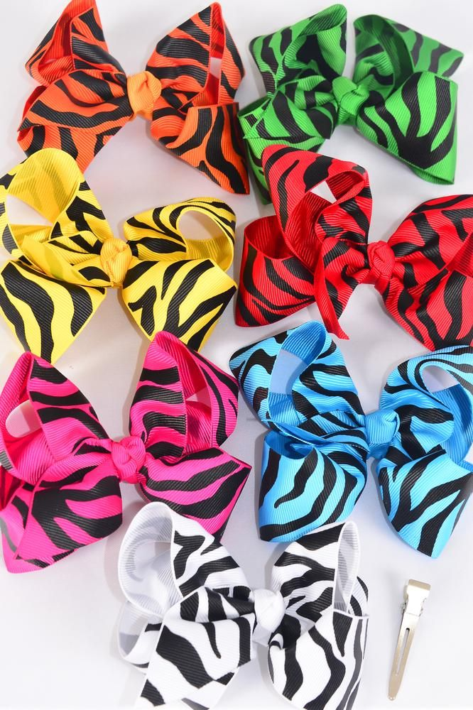 "Hair Bow Large Bow-tie Zebra Prints Grosgrain Fabric Alligator Clip/DZ **Alligator Clip** Bow Size-5"" x 4"" Wide,2 Red,2 White,2 Fuchsia,2 Yellow,2 Blue,1 Green,1 Orange mix,Display Card & UPC Code, Clear Box"