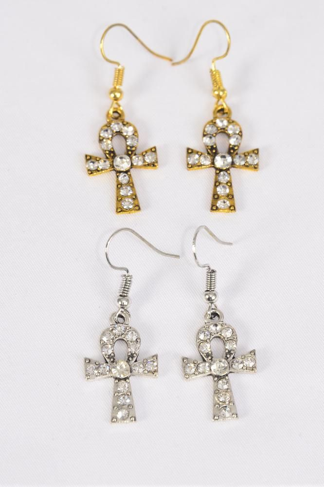 "Earrings Ankh Antique Rhinestones Gold & Silver Mix/DZ **Fish Hook** Size-0.75""x 0.5"" Wide,6 Antique Gold & 6 Antique Silver Mix,Earring Card & OPP Bag & UPC Code"