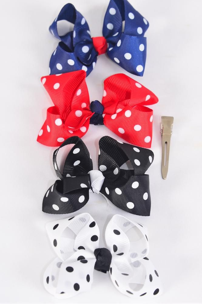"Hair Bow Polka Dots Black White Red Navy Mix Grosgrain Bow-tie /DZ **Alligator Clip** Size-3.5""x 3"" Wide,3 Black,3 White,Red,3 Navy Mix,Clip Strip & UPC Code"