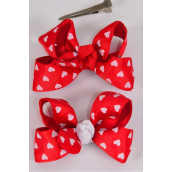 "Hair Bow Double Layer Heart Print Grosgrain Bow tie/DZ **Alligator Clip** Bow-3""x 2"" Wide,6 White,6 Red Mix,Clip Strip & UPC Code"