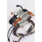 Bracelet Real Leather Band Love Silver/DZ **Silver** Unisex,Adjustable,4 of each Color Mix,Individual Hang tag & OPP Bag & UPC Code