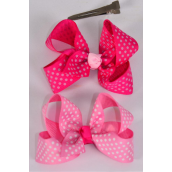 "Hair Bow Grosgrain Bow-tie Mini Polka Dots Pink Mix/DZ **Pink Mix** Alligator Clip,Size-3""x 2"" Wide,6 of each Color Asst,Clip Strip & UPC Code"