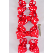 "Hair Bow Double Layer Heart Print Grosgrain & Chiffon Mix/DZ **Alligator Clip** Bow-3""x 2.5"" Wide,3 of each Pattern Mix,Clip Strip & UPC Code"