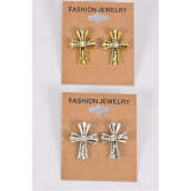 "Earrings Cross Antique Rhinestones Gold & Silver Mix/DZ **Post** Size-1""x 0.75"" Wide,6 Antique Gold & 6 Antique Silver Mix,Earring Card & OPP Bag & UPC Code"