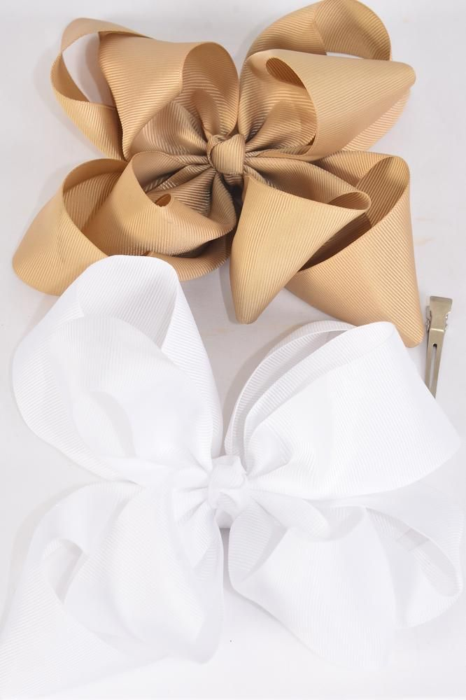 "Hair Bow Jumbo Windmill Cheer Bow Type Double Layer Khaki White Mix Grosgrain Bow/DZ **Khaki White Mix** Alligator Clip,Size-7""x 7"" Wide,6 of each Color Asst,Clip Strip & UPC Code"