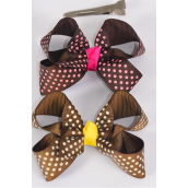 "Hair Bow Mini Polka-dot Grosgrain Bow-tie Brown-tone Mix/DZ **Brown Tone Mix** Alligator Clip,Size-3""x 2"" Wide,6 of each Color Asst,Clip Strip & UPC Code"