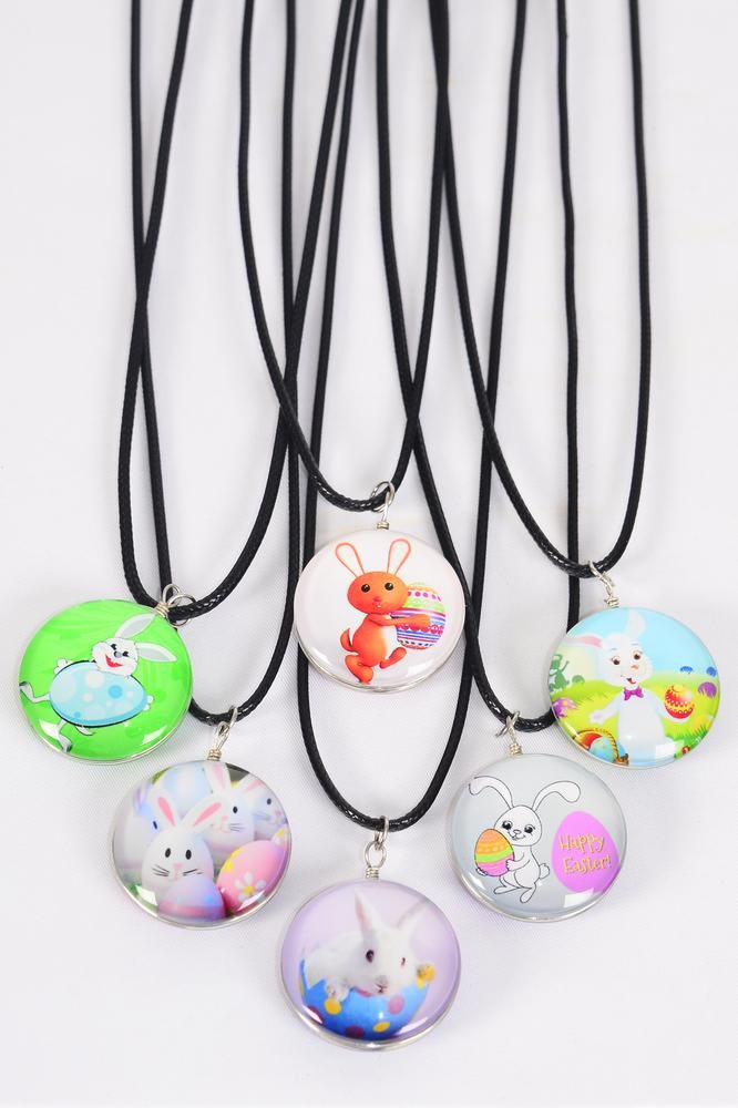 "Necklace Black Easter Double Sided Glass Dome/DZ match 03310 Pendant Size-1.25"" Wide,Necklace 18"" Long Extension Chain,2 of each Style Asst,Hang Tag & OPP Bag & UPC Code"