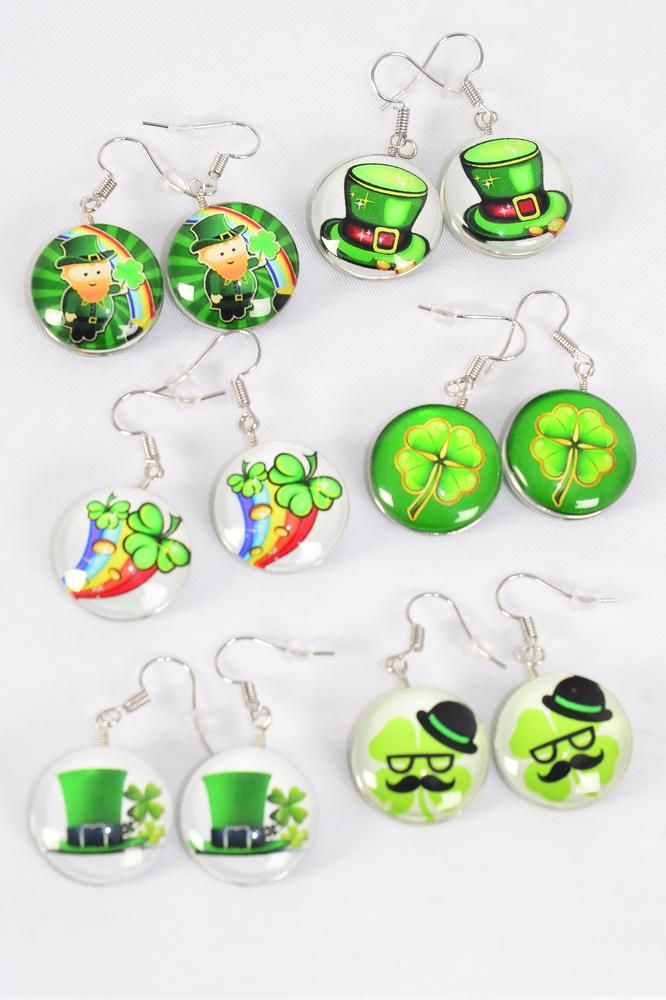 "Earrings St Patrick's Day Double Sided Glass Dome/DZ match 70241 **Fish Hook** Size-0.75"" Wide,2 of each Design Asst,Earring Card & OPP Bag & UPC Code"