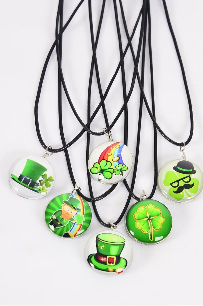 "Necklace Black St Patrick's Day Double Sided Glass Dome/DZ match 03308 Pendant Size-1.25"" Wide,Necklace 18"" Long Extension Chain,2 of each Style Asst,Hang Tag & OPP Bag & UPC Code"