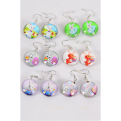"Earrings Easter Double Sided Glass Dome/DZ match 70243 **Fish Hook** Size-0.75"" Wide,2 of each Design Asst,Earring Card & OPP Bag & UPC Code"