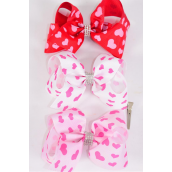 """Hair Bow Jumbo Pink Hearts Grosgrain Bow-tie Red & White & Pink/DZ **Red & Pink mix** Size-6""""x 5"""",Alligator Clip,6 of each Color Asst,Clip Strip & UPC Code"""