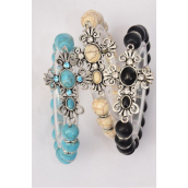 "Bracelet Side Way Cross Stretch 10 mm Semiprecious Stone/DZ match 02586 75025 **Stretch** Cross-1.75""x 1.25"" Wide,4 Black,4 Ivory,4 Turquoise Asst,Hang Tag & OPP Bag & UPC Code"
