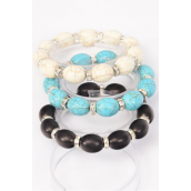 Bracelet Oval Hand Carved 12 mm Real Semiprecious Stone Rhinestone Bezel Stretch/DZ **Stretch** 4 Black,4 Ivory,4 Turquoise,3 Color Asst,Hang Tag & Opp Bag & UPC Code
