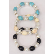 Bracelet 12 mm Glass Pearl & Oval Semiprecious Stone Mix Stretch/DZ **Stretch** 4 Ivory,4 Black,4 Turquoise Mix,Hang Tag & Opp Bag & UPC Code -