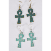 "Earrings Ankh Patina Gold & Silver Asst/DZ **Fish Hook** Size-1""x 0.75"" Wide,6 Antique Gold & 6 Antique Silver Mix,Earring Card & OPP Bag & UPC Code"