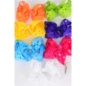 "Hair Bow Extra Jumbo Cut Out Heart Grosgrain Bow-tie Citrus/DZ **Citrus** Alligator Clip,Size-6""x 5"" Wide,2 White,2 Fuchsia,2 Purple,2 Yellow,2 Blue,1 Lime,1 Orange,7 Color Asst,Clip Strip & UPC Code"