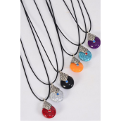 """Necklace Black Aztec Marble Double Sided /DZ match 03211 Pendant Size-1.25""""x 1"""" Wide,Necklace 18"""" Long Extension Chain,2 of each Style Asst,Hang Tag & OPP Bag & UPC Code"""