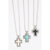 "Necklace Silver Chain Cross Semiprecious Stone/DZ match 03212 Pendant-1.75""x 1.25"" Wide,Chain-18"" Extension Chain,4 Ivory,4 Black,4 Turquoise Asst,Hang Tag & OPP Bag & UPC Code"