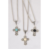 "Necklace Silver Chain Cross Real Semiprecious Stone/DZ match 02663 Pendant-1.25""x 1"" Wide,Chain-18"" Extension Chain,4 Ivory,4 Black,4 Turquoise Asst,Hang Tag & OPP Bag & UPC Code"