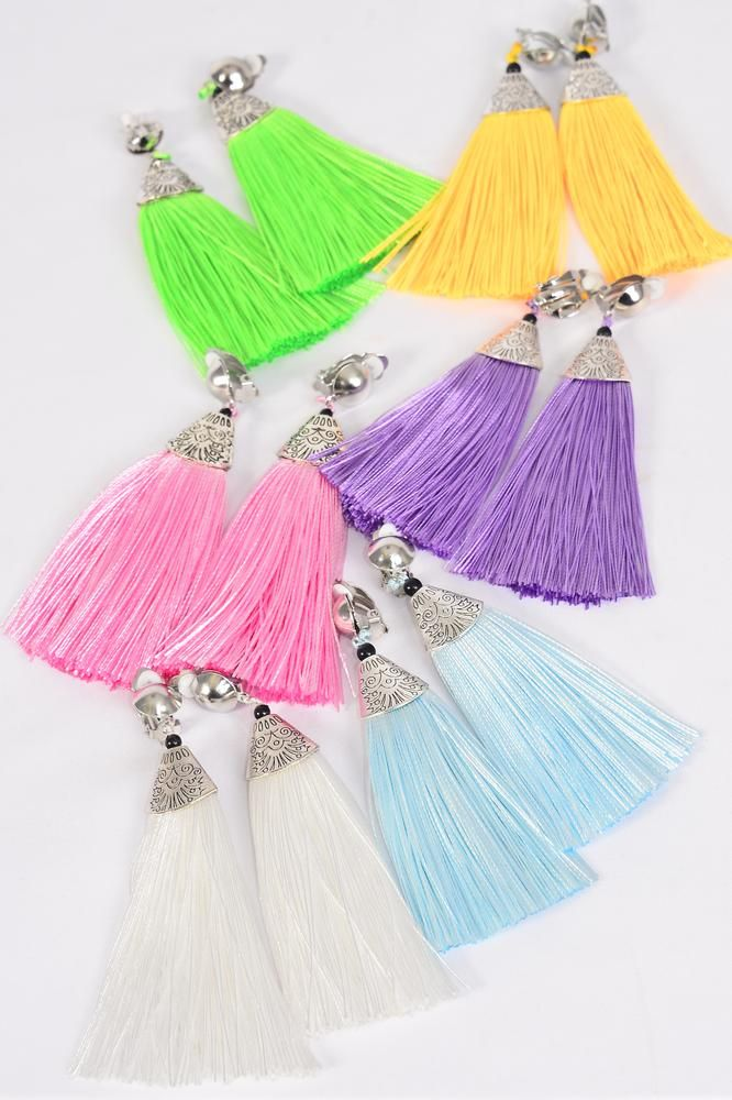 "Earrings Aztec Fringe Tassels Pastel Clip On/DZ **Clip On** Pastel,Size-3""x 1.5"" Wide,2 of each Color Asst,Earring Card & OPP Bag & UPC Code"
